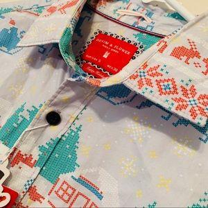 Denim & Flower Christmas Scene Shirt - Ricky Singh